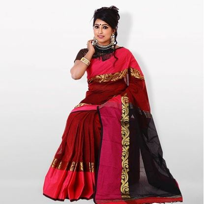 Picture of  Maroon and Black Cotton Traditional Saree