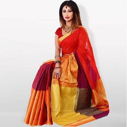 Picture of  Red and Golden Cotton Traditional Saree