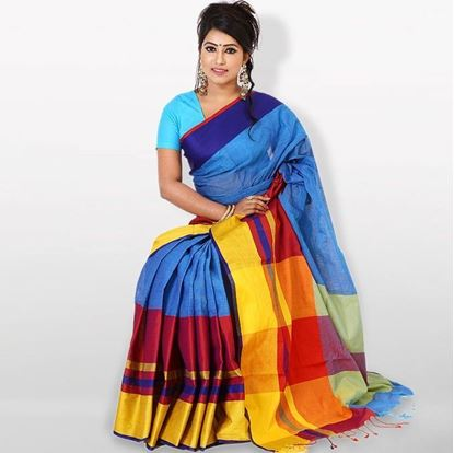 Picture of  Blue and Yellow Cotton Saree