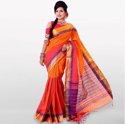 Picture of Orange and Pink Cotton Traditional Saree