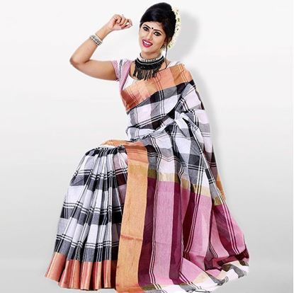 Picture of Gray and White Cotton Traditional Saree