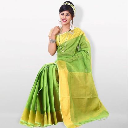 Picture of  Lime and Golden Cotton Saree For Women