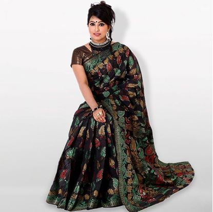 Picture of Black Cotton Traditional Saree For Women