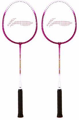 Picture of Li-Ning Smash XP 708 Strung Badminton Racquet (Set of 2) Pink/White