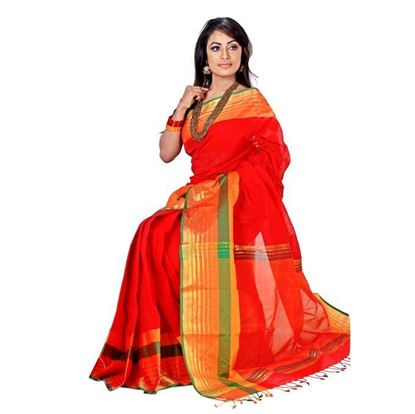 Picture of Red and Yellow Cotton Saree