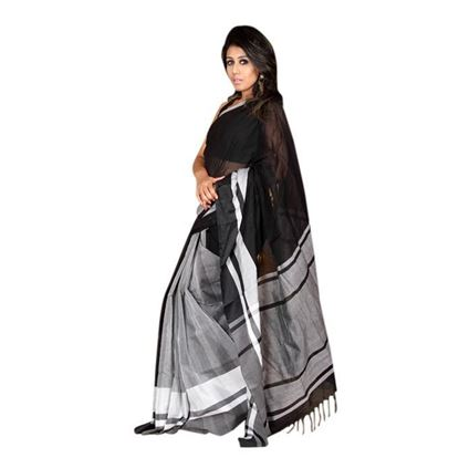 Picture of White and Black Cotton Saree For Women