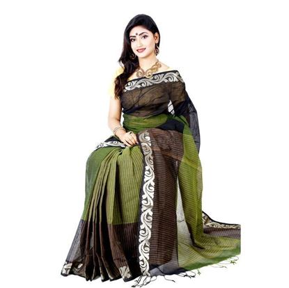 Picture of Olive and Black Cotton Saree For Women