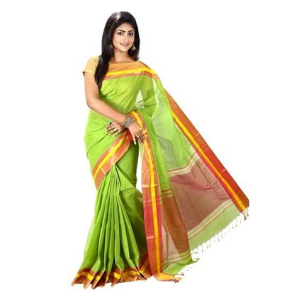 Picture of Lime Cotton Saree For Women