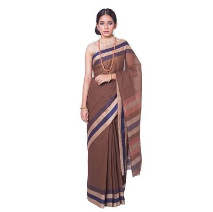 Picture of Brown and Blue Cotton Saree For Women