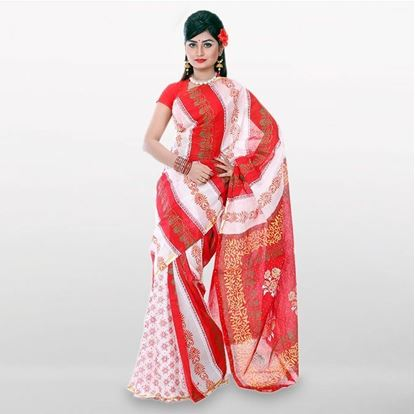 Picture of White and Red Cutwork Applique Embroidery Cotton Saree