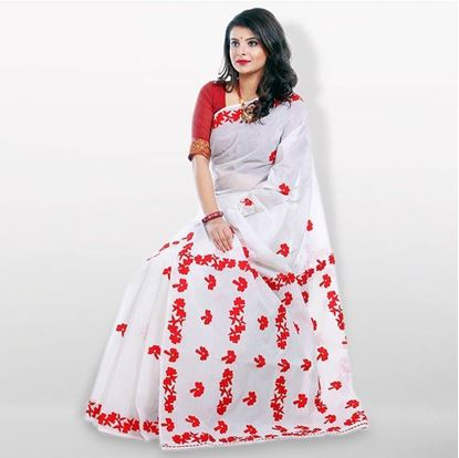 Picture of  Red and White Cutwork Applique Embroidery Cotton Saree