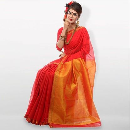 Picture of  Red and Golden Cutwork Applique Embroidery Cotton Saree