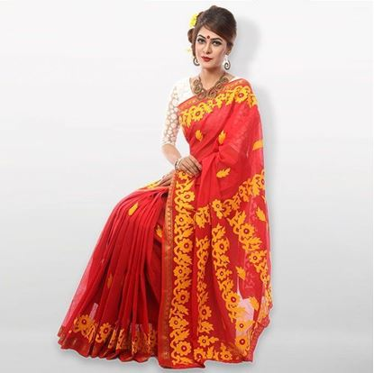 Picture of  Red and Yellow Cutwork Applique Embroidery Cotton Saree