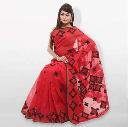 Picture of  Red Cutwork Applique Embroidery Cotton Saree