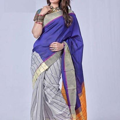 Picture of Tossor half silk Blue & Grey