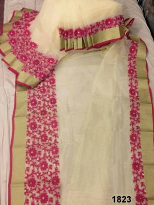 Picture of Half Silk Saree Light Yellow & Red