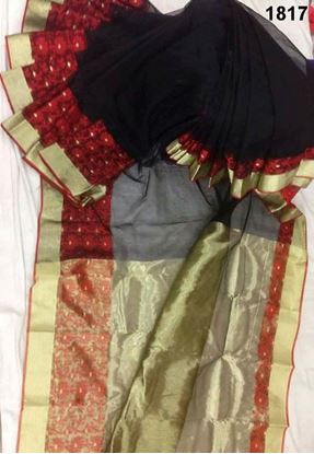 Picture of Half Silk Saree Red & Black
