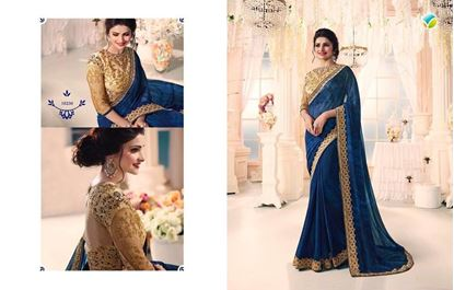 Picture of Original Indian Georgette Saree Deep Blue
