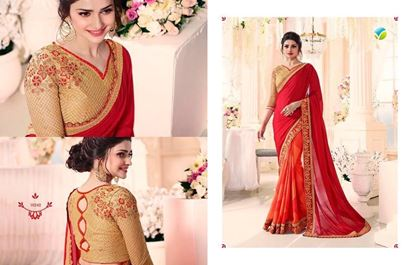 Picture of Original Indian Georgette Saree Orange