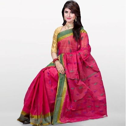 Picture of Pink Cotton Saree For Women