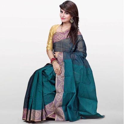 Picture of  Teal Cotton Saree For Women