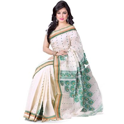 Picture of Off-White Cotton Hand Work Saree