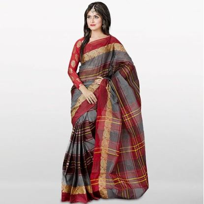 Picture of  Brown and Deep Gray Cotton Saree