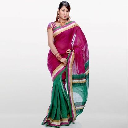 Picture of Purple and Deep Green Musleen Cotton Saree