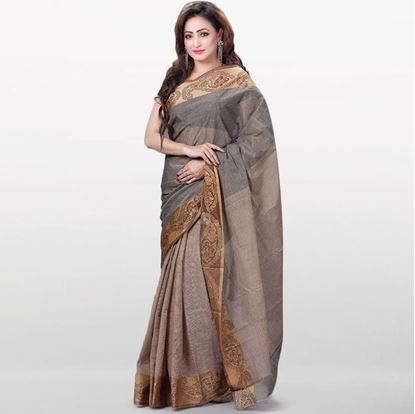 Picture of  Dark Gray Cotton Saree For Women