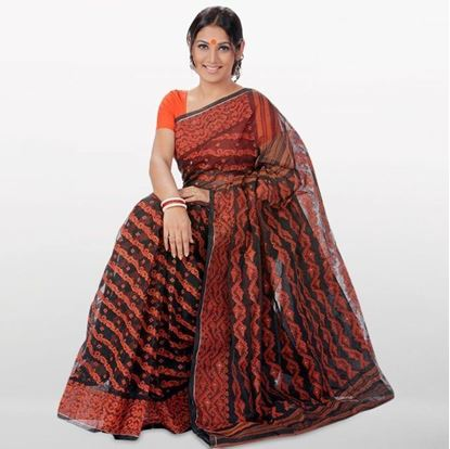 Picture of Brown Cotton Jamdani Saree For Women