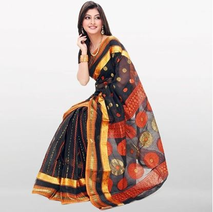 Picture of  Black Cotton Baluchuri Saree For Women