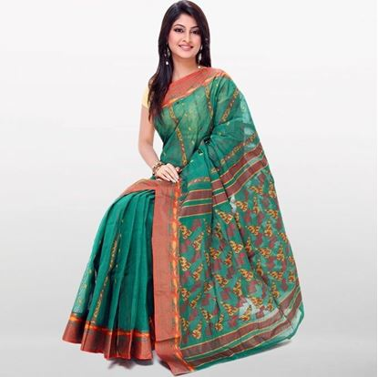 Picture of Green Cotton Baluchuri Saree For Women