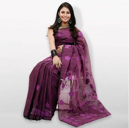 Picture of Violet Cutwork Applique Embroidery Cotton Saree