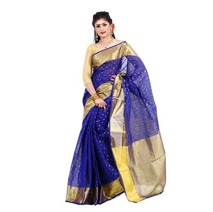 Picture of Blue and Golden Cotton Saree For Women
