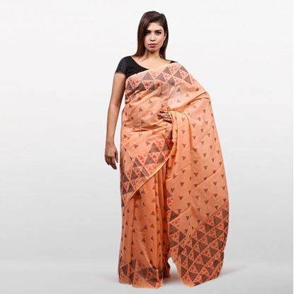 Picture of Peach Cotton Saree For Women