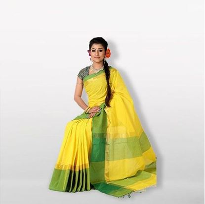 Picture of Yellow and Green Cotton Saree For Women
