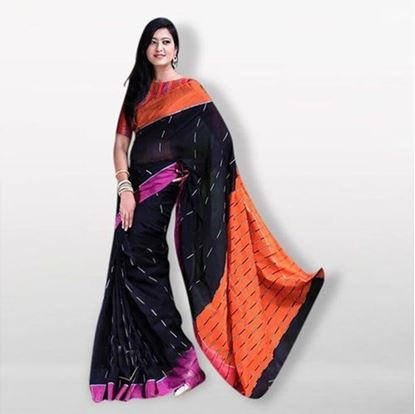 Picture of Black and Orange Cotton Saree For Women