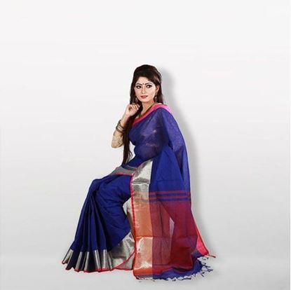 Picture of Blue and Red Cotton Saree For Women