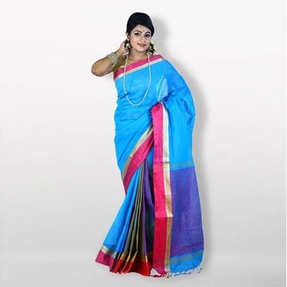 Picture of Sky Blue and Pink Cotton Saree For Women