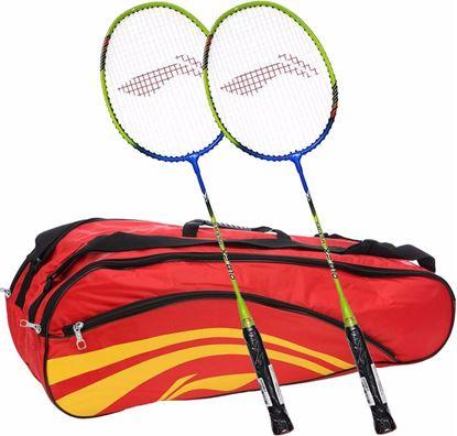 Picture of Li-Ning Smash XP 810 Strung Badminton Raquet (Set of 2) + Li-Ning Double Belt 2-in-1 Thermal Racquet Bag
