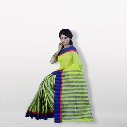 Picture of  Olive and Blue Cotton Saree For Women
