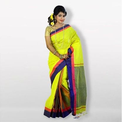 Picture of Yellow and Blue Cotton Saree For Women