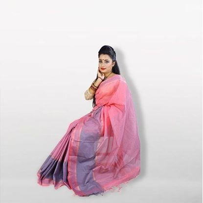 Picture of  Pink and Ash Cotton Saree For Women