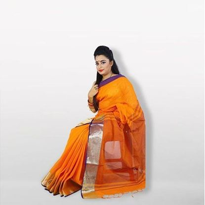 Picture of Orange and Navy Blue Cotton Saree
