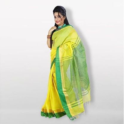Picture of  Lime and Green Cotton Saree For Women
