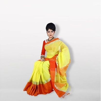 Picture of Yellow and Red Cotton Saree For Women