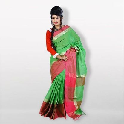 Picture of  Green and Pink Cotton Saree For Women