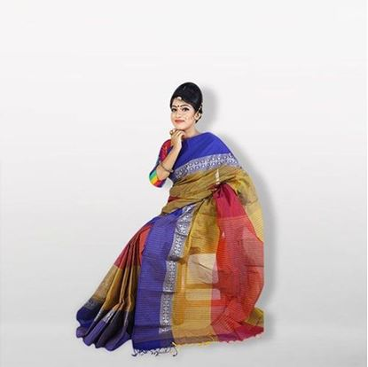 Picture of  Multicolor Cotton Saree For Women
