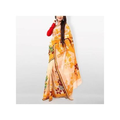Picture of Rose Pink and Orange Cotton Kota Handprint Saree