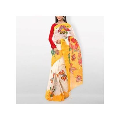 Picture of  White and Yellow Cotton Kota Handprint Saree